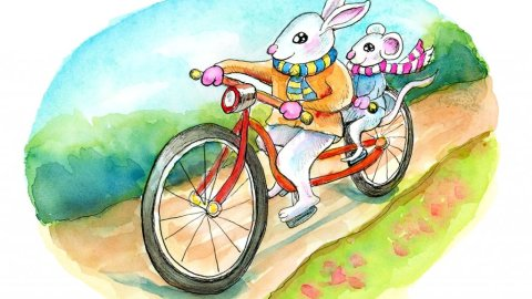 Tandem Bicycle Built For Two Rabbit Mouse Watercolor Illustration Painting