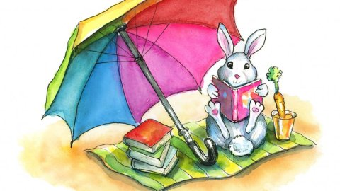 Beach Read Rabbit Reading Book Umbrella Watercolor Illustration Painting