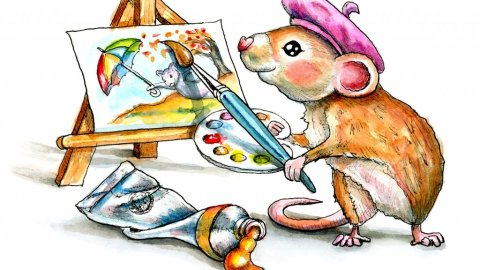 Mouse Holding Paintbrush Painting Easel Tube Watercolor Illustration Painting