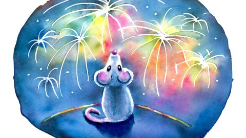 Year Of The Mouse Watching Fireworks Night Watercolor Illustration Painting