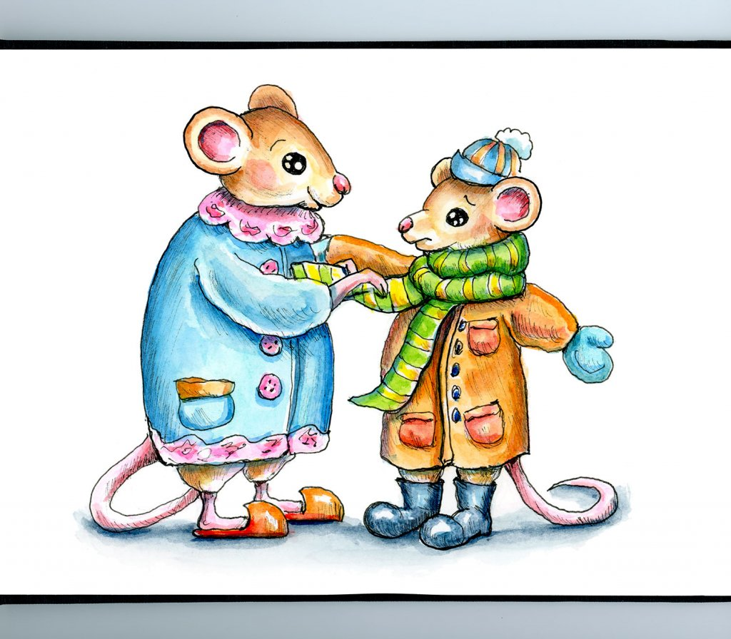 Mouse Mice Mother Child Winter Coat Watercolor Illustration Painting Sketchbook Detail