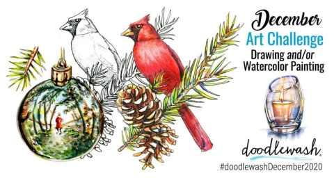 December 2020 Doodlewash Drawing Painting Challenge