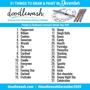 Doodlewash December 2020 Art Drawing Watercolor Challenge Prompts