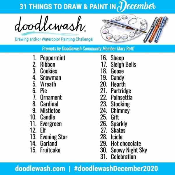 Doodlewash December 2020 Art Drawing Watercolor Challenge Prompts