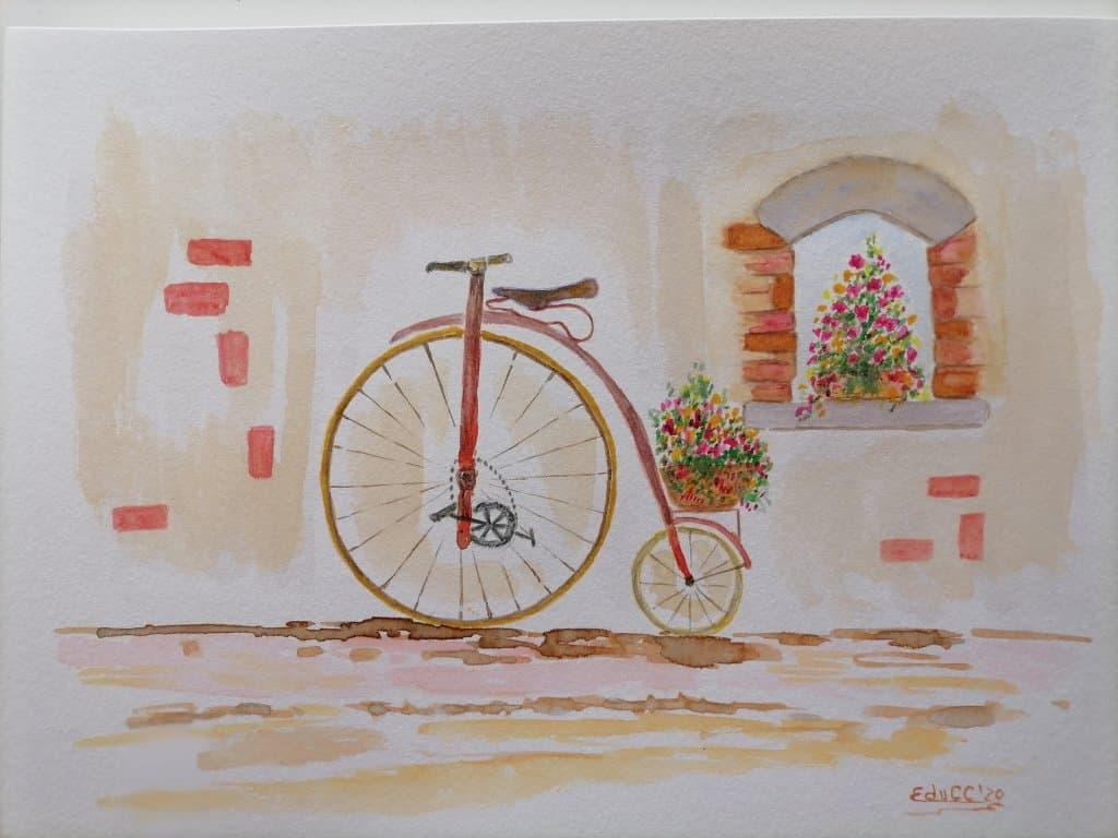 Acuarela, formato A4, grano fino 300g/m2. Día 16 Bicicleta IMG_20201116_174006