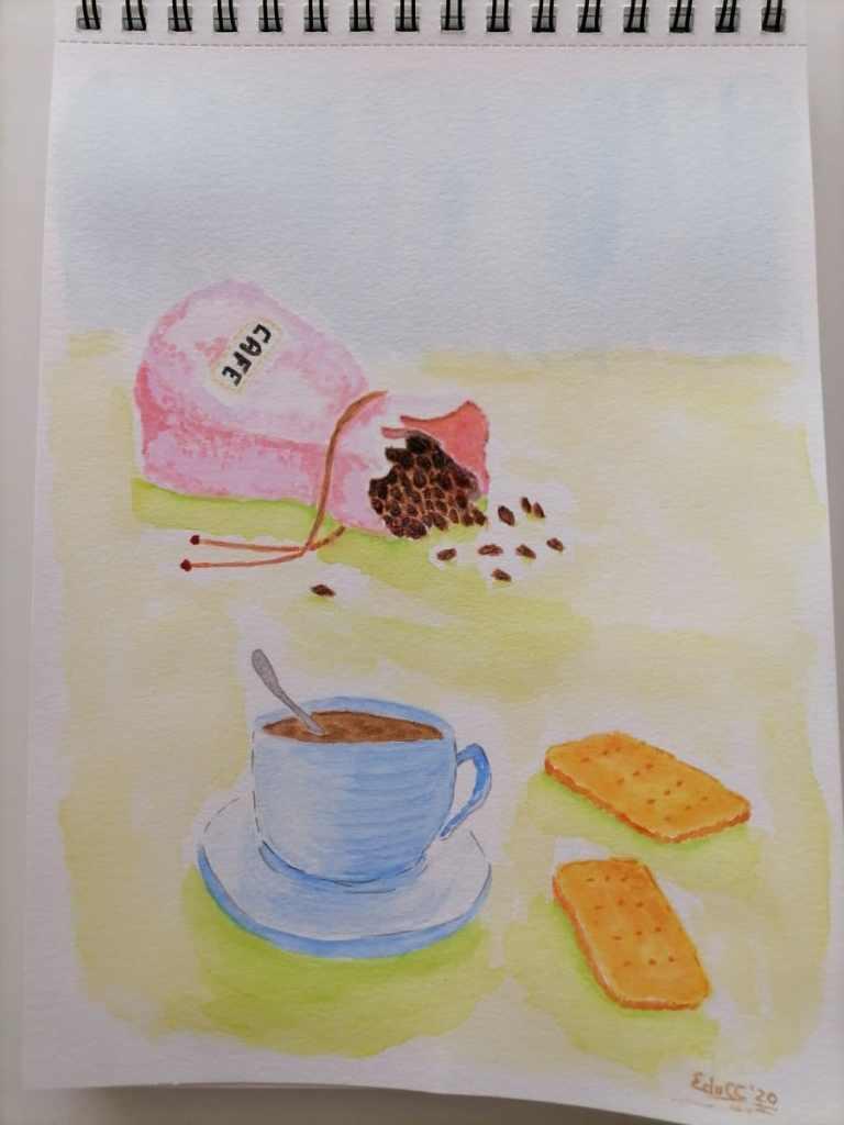 Acuarela, formato A4, grano fino 300g/m2. Día 21 Café IMG_20201121_165221