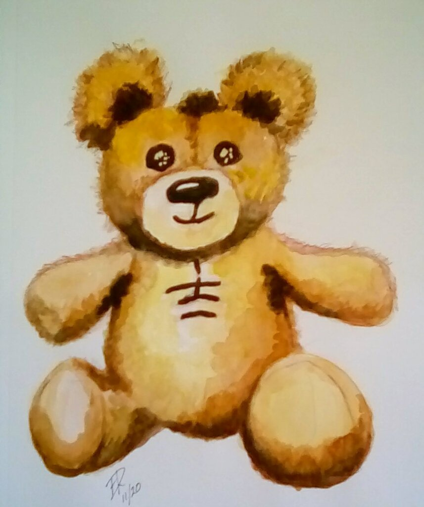 "Today's watercolor challenge ""Teddy Bear"" . The teddy was created and name after P"
