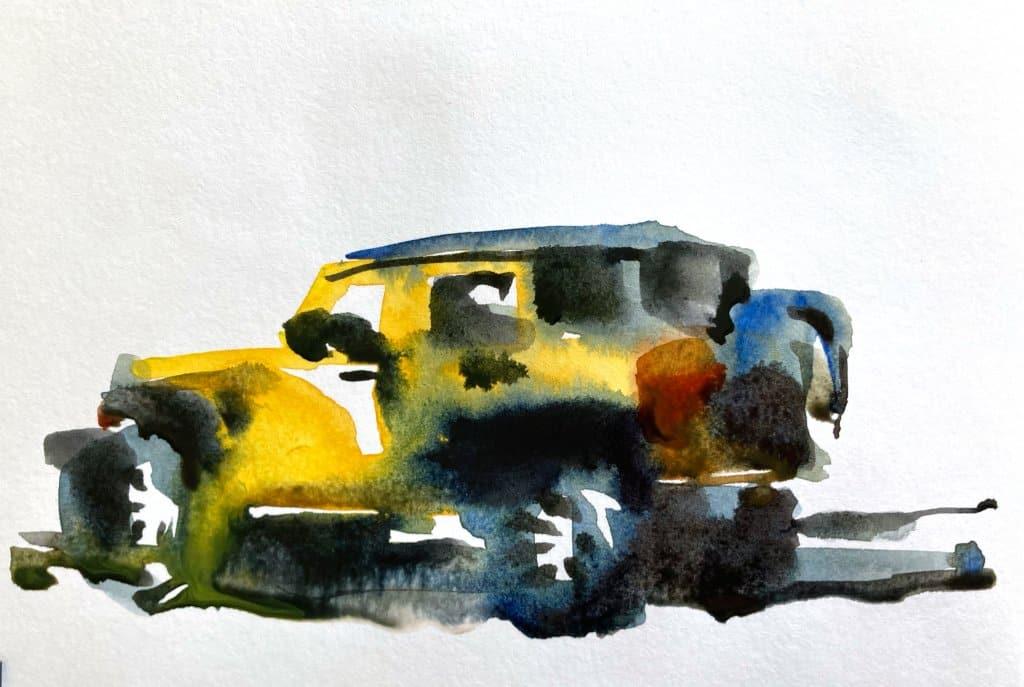 Urban Sketching Watercolor Tutorial Suhita Shirodkar jeep2