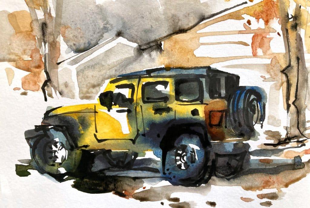 Urban Sketching Watercolour Tutorial Suhita Shirodkar jeep4