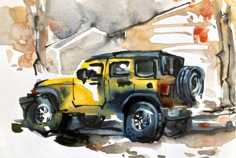 Urban Sketching Watercolour Tutorial Suhita Shirodkar jeep5