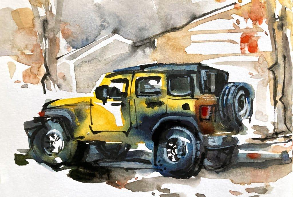 Urban Sketching Watercolour Tutorial Suhita Shirodkar jeep5