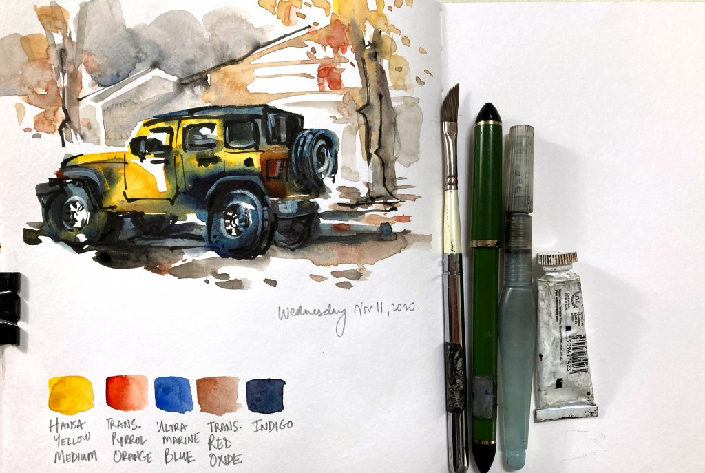 Urban Sketching Watercolor Supplies Tutorial Suhita Shirodkar jeep6