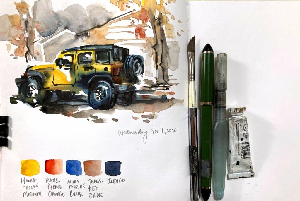 Urban Sketching Watercolor Supplies Tutorial Suhita Shirodkar jeep6