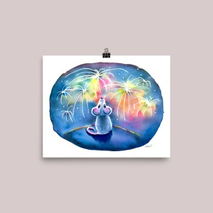 Year-Of-The-Mouse-Watching-Fireworks-Night-Watercolor-Print-Signed_mockup_Transparent_Transparent_8x10 Watercolor Print