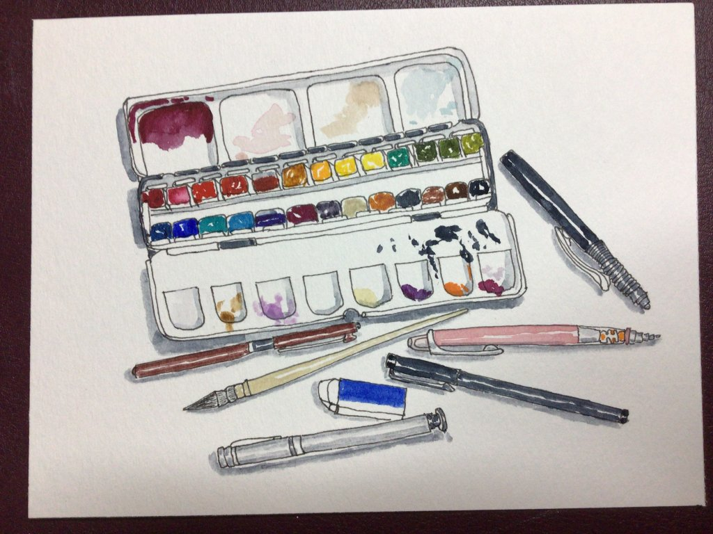 Day 3 of #doodlewashNovember2020. some of my favorite art supplies, done on canson xl watercolor pap