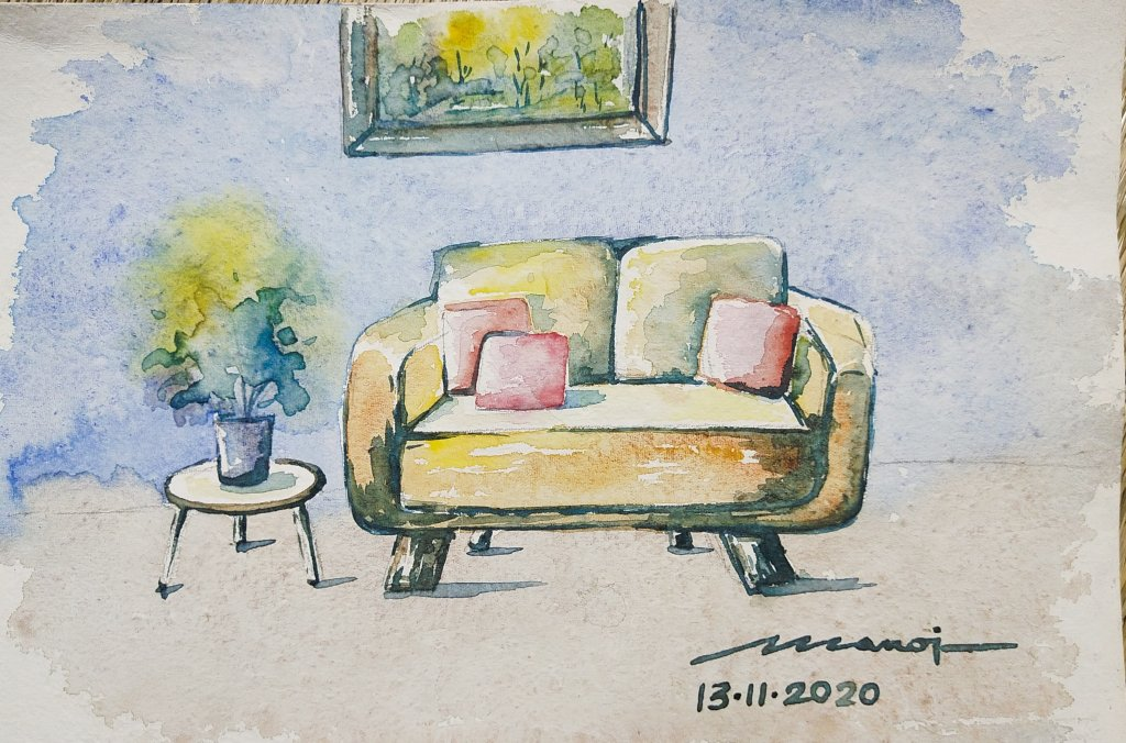 Dt: 13.11.2020 Sub: COZY Watercolor painting on handmade paper inbound2225981198602896171