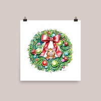 Christmas Wreath Holiday Mouse Watercolor Illustration Painting Signed Print