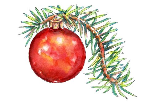 Christmas Ornament Evergreen Pine Branch Watercolor Illustration Painting