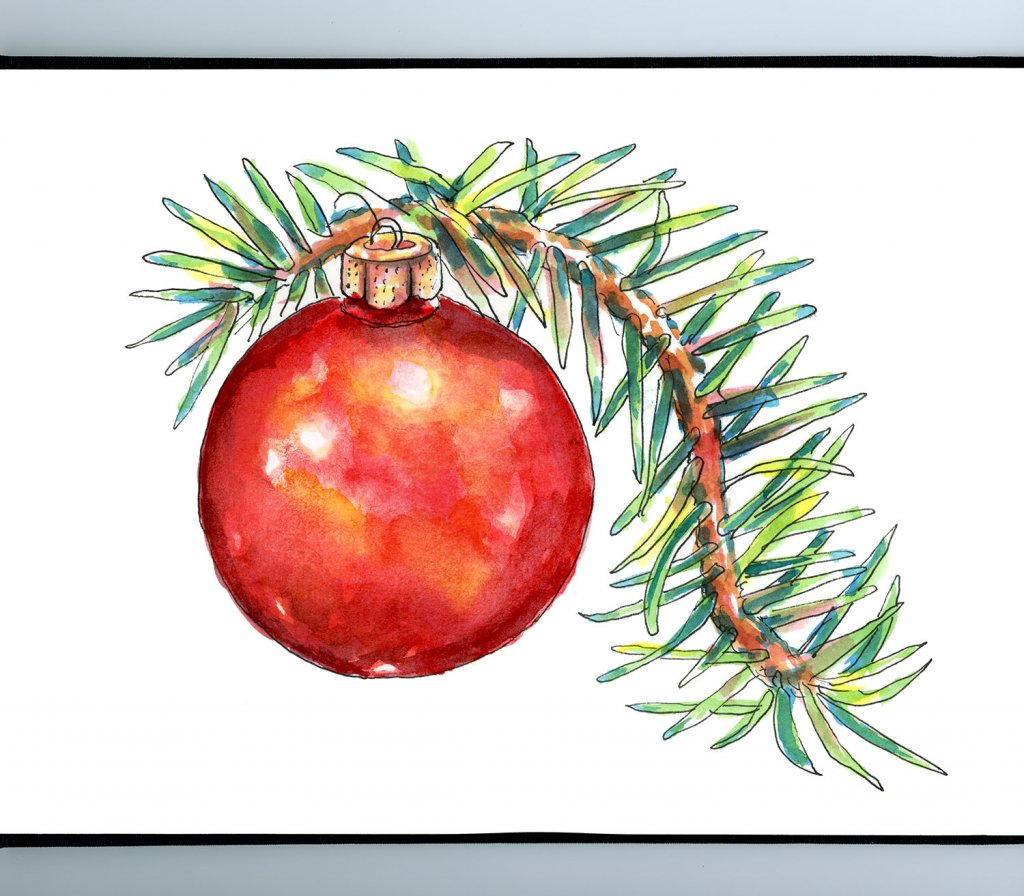 Christmas Ornament Evergreen Pine Branch Watercolor Illustration Painting Sketchbook Detail