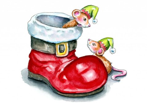 Santa Boot Christmas Elf Mice Mouse Watercolor Illustration Painting
