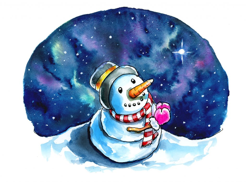 Evening Star Snowman Wishing Praying Christmas Watercolor Illustration Painting