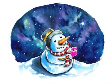 Evening Star Snowman Wishing Praying Christmas Watercolor Illustration Painting