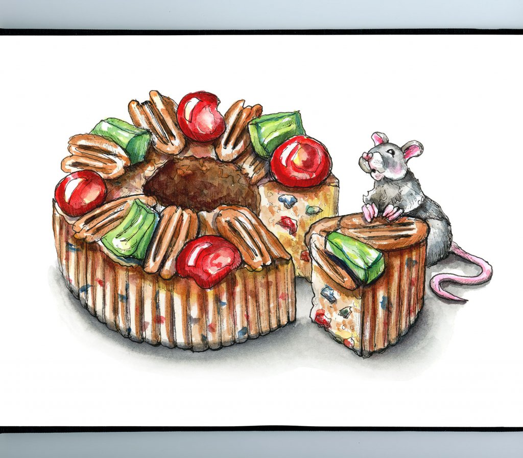 Fruitcake Slice Christmas Mouse Watercolor Illustration Painting Sketchbook Detail