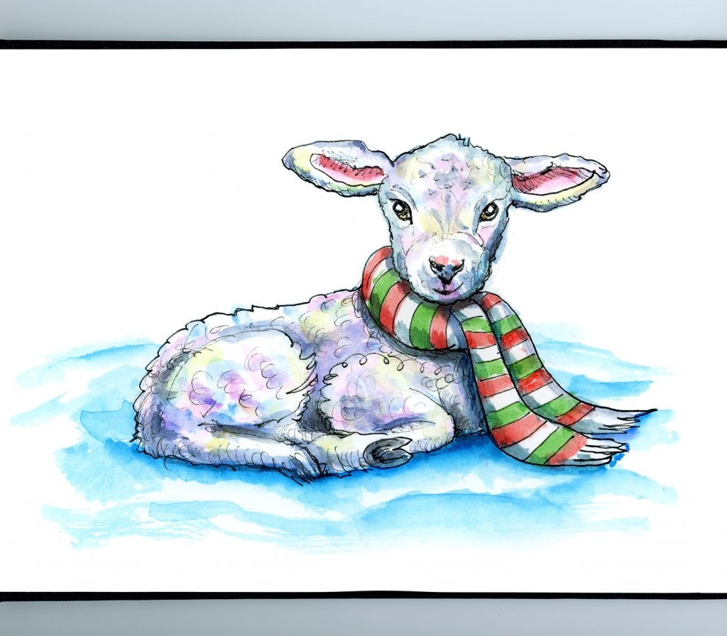 Lamb Baby Sheep Scarf Christmas Watercolor Illustration Painting Sketchbook Detail