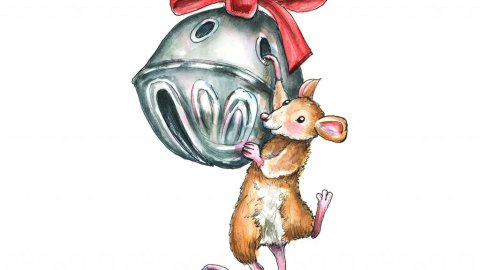 Sleigh Bell Jingle Bell Mouse Hanging Ornament Christmas Watercolor Illustration Painting