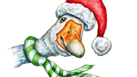 Christmas Goose Watercolor Illustration Painting