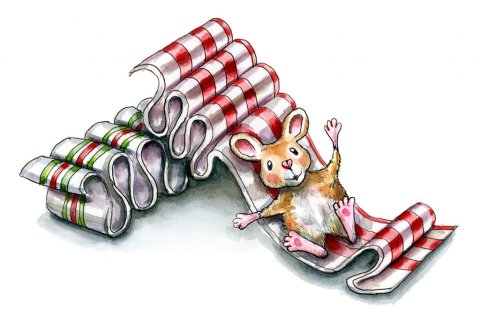Ribbon Candy Christmas Mouse Watercolor Illustration Painting