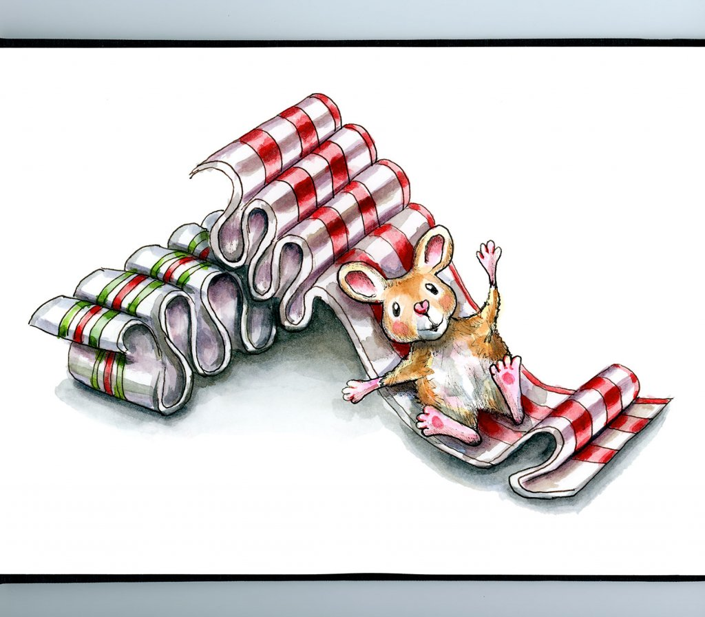 Ribbon Candy Christmas Mouse Watercolor Illustration Painting Sketchbook Detail
