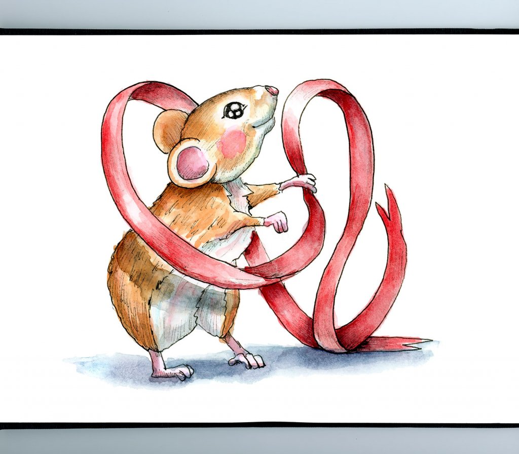 Mouse Holding Red Ribbon Christmas Watercolor Illustration Painting Sketchbook Detail