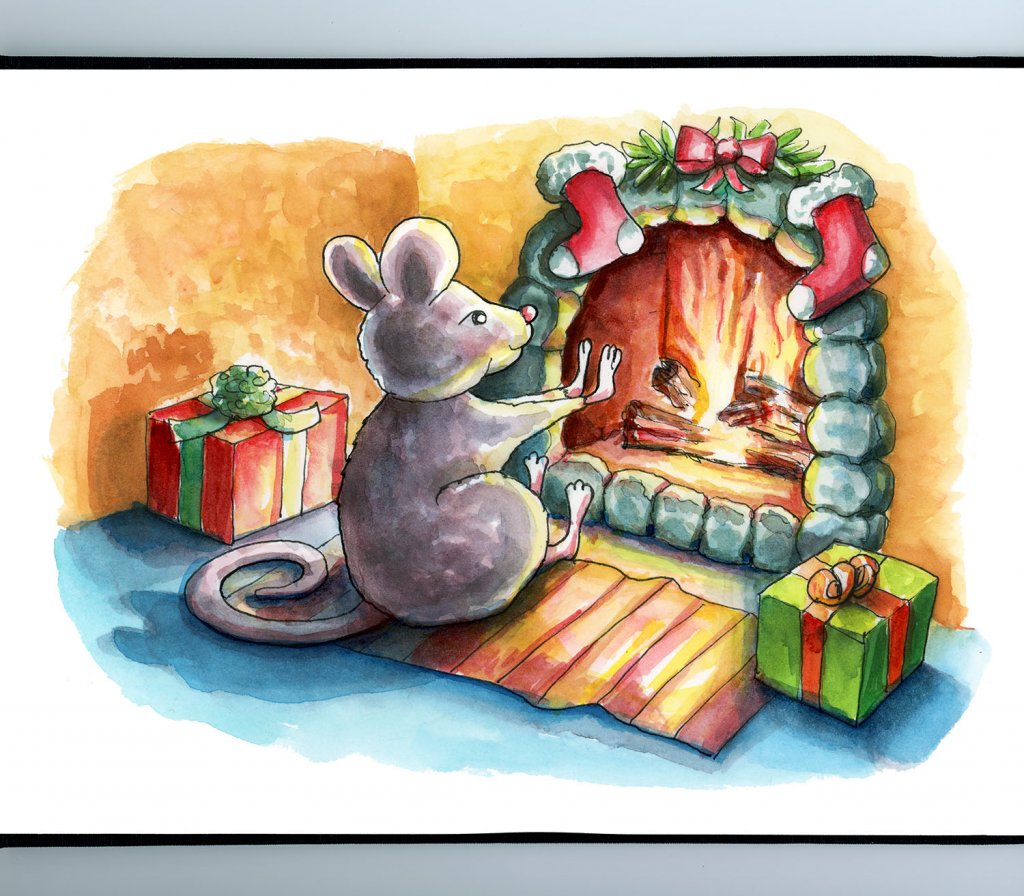 Mouse Sitting By Fireplace Christmas Chidren's Book Watercolor Illustration Painting Sketchbook Detail