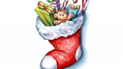 Christmas Stocking With Gifts Toys Watercolor Illustration Painting