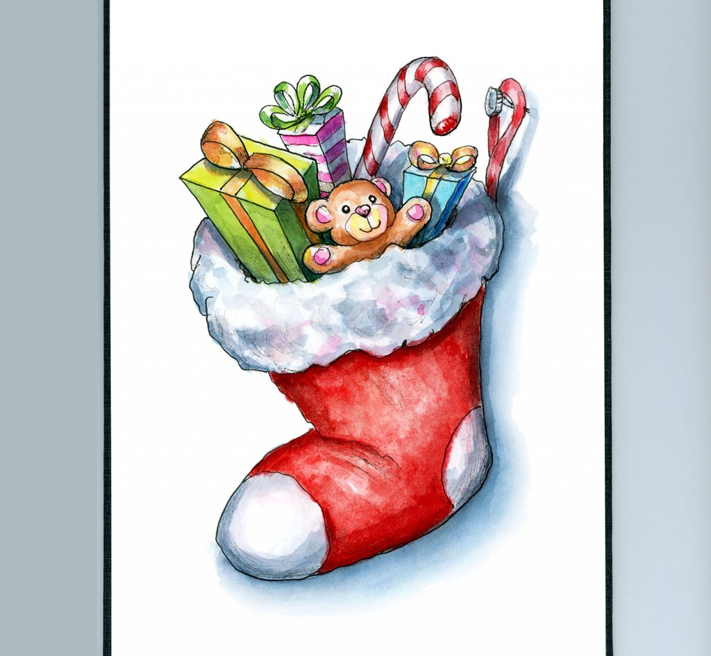 Christmas Stocking With Gifts Toys Watercolor Illustration Painting Sketchbook Detail