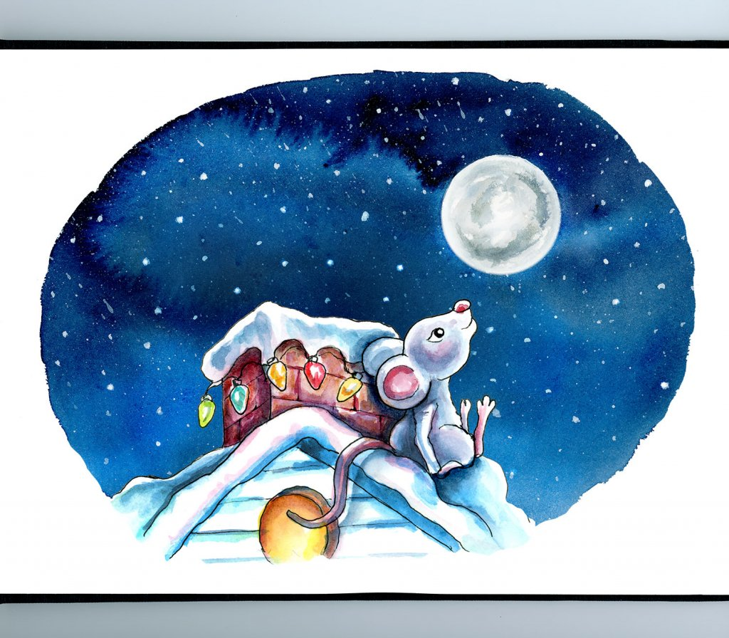 Night Sky Christmas Lights Chimeny Mouse Waiting Up For Santa Watercolor Illustration Painting Sketchbook Detail
