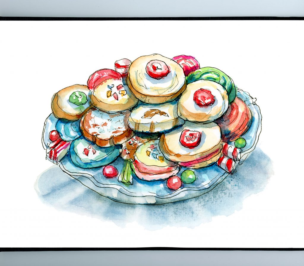 Christmas Cookies Holiday Plate Variety Watercolor Illustration Painting Sketchbook Detail