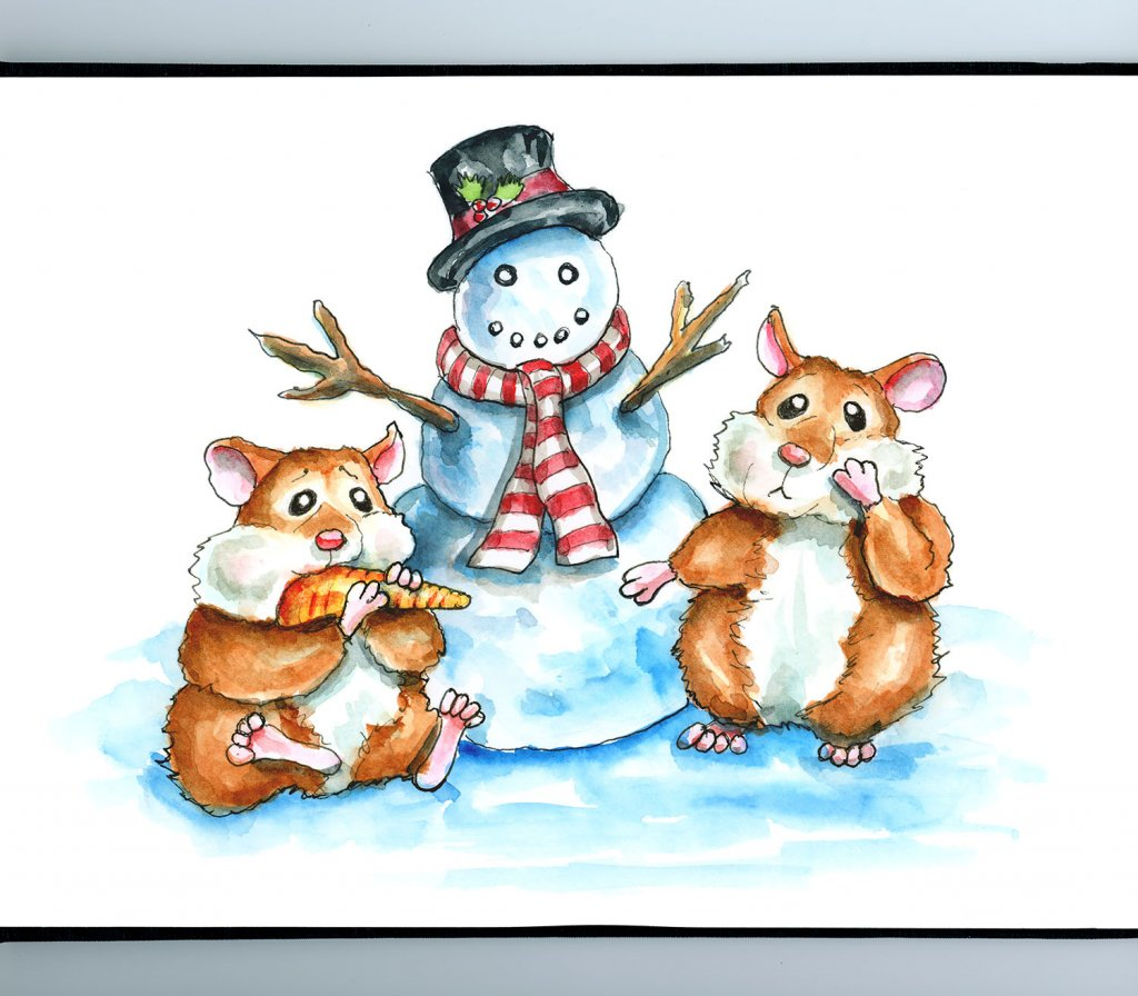 Snowman Two Hamsters Eating Carrot Nose Winter Watercolor Illustration Painting Sketchbook Detail
