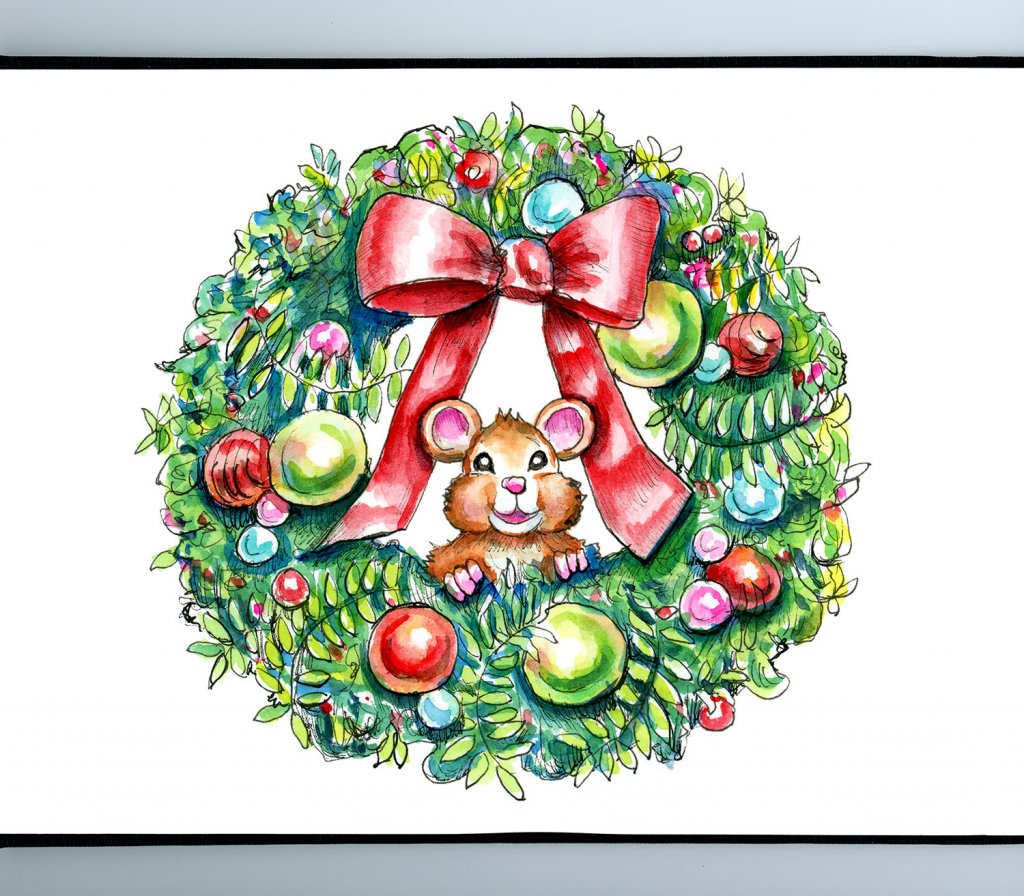Christmas Wreath Holiday Mouse Watercolor Illustration Painting Sketchbook Detail