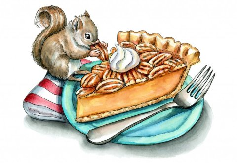 Pecan Pie Fork Plate Baby Squirrel Watercolor Illustration Painting