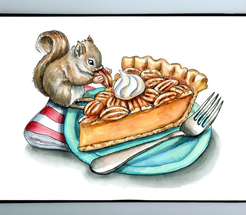 Pecan Pie Fork Plate Baby Squirrel Watercolor Illustration Painting Sketchbook Detail