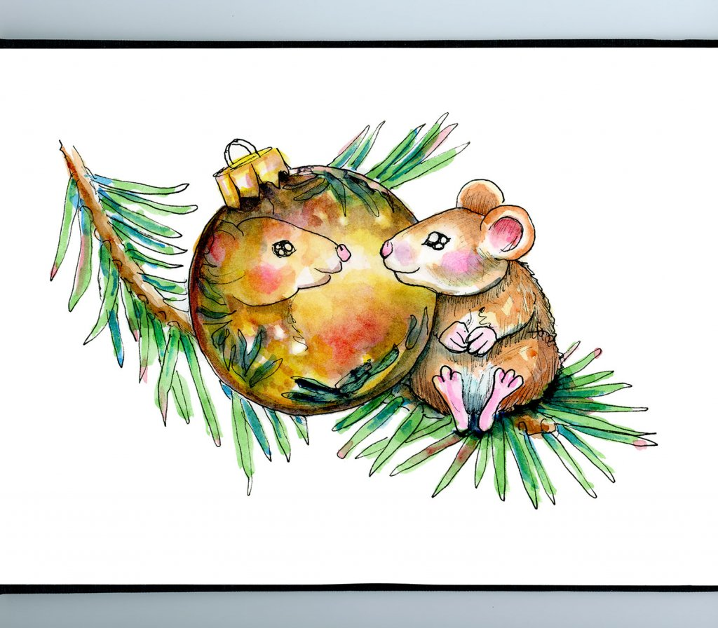 Mouse Looking In Ornament Reflection Christmas Watercolor Illustration Painting Sketchbook Detail