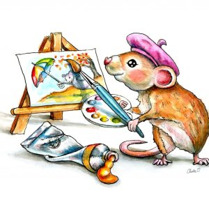 Mouse Painting Illustration Watercolor Print Detail