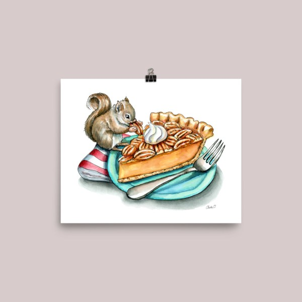 Pecan Pie Baby Squirrel Watercolor Illustration Painting Print