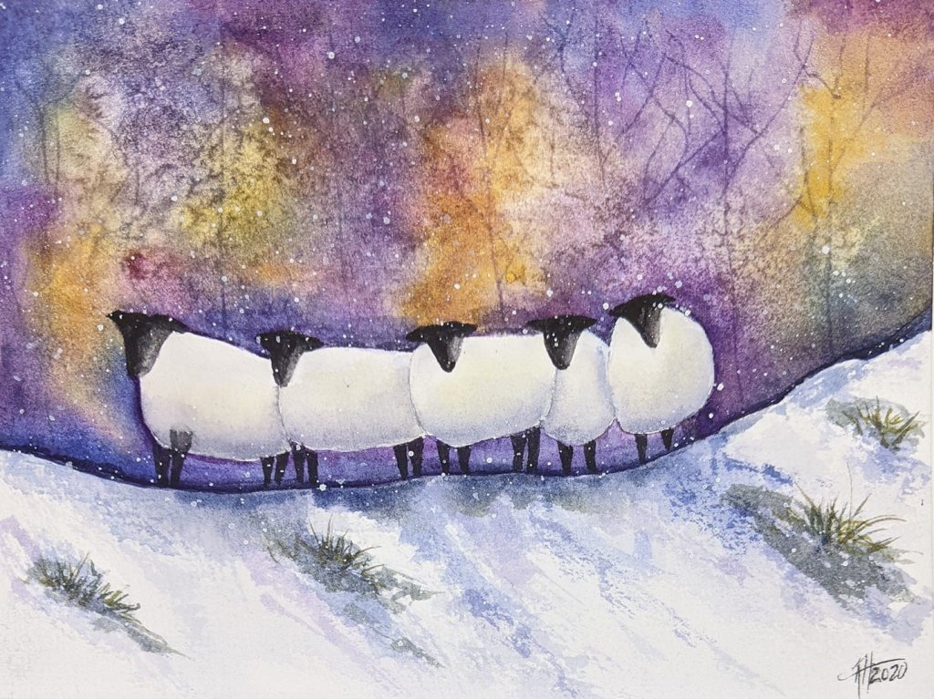 Followed a Karen Rice demo on YouTube. 140lb Bee Cotton CP. Only 3 Qor colors used. Sheep in Snow sp