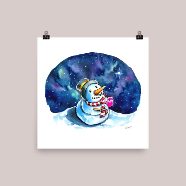 Snowman Night Sky Wishing Praying Watercolor Print