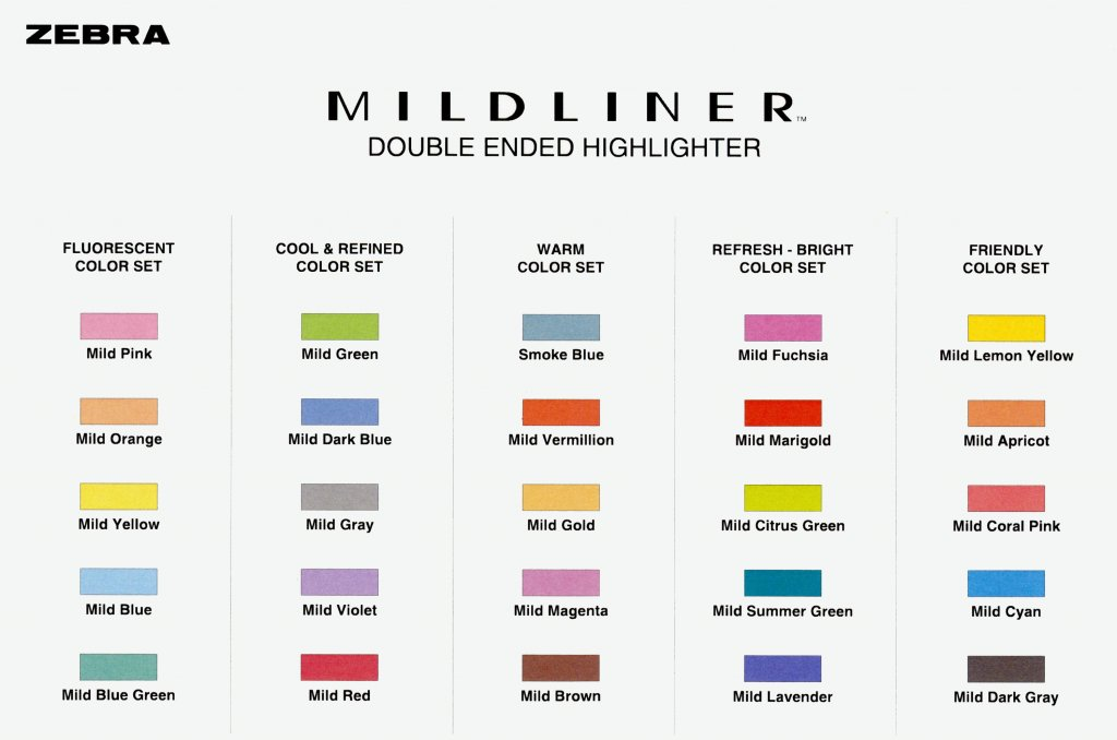 Zebra Pen Mildliner Double-Ended Highlighter Chart