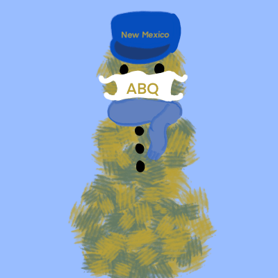In Albuquerque we use tumbleweed to build a snowman tumbleweed