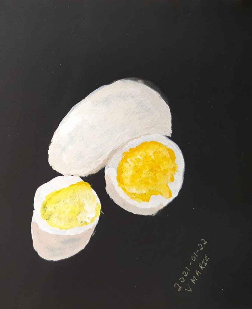 2021-01-22 Egg #doodlewashJanuary2021 #WorldWatercolorGroup Arteza gouache on Stonehenge Aqua Cold P